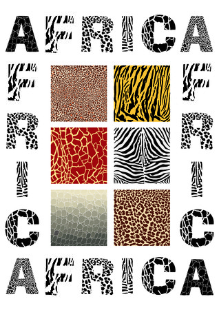 background with the word Africa and camouflage wild animal Vector