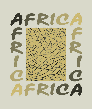 background with the word Africa and elephant skin Vector