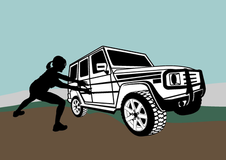 offroad: vector illustration women and terrain vehicle Illustration