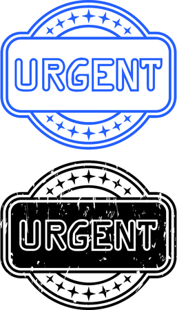urgently: Illustration stamp with the text urgent, two variants