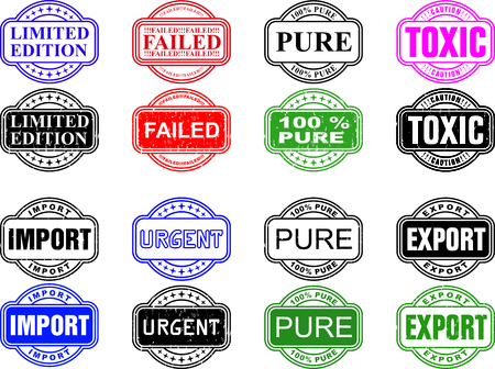 illustration series of eight business stamps in two versions Vector
