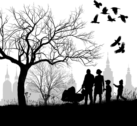 the crows: illustration family in the countryside before the historical city  Illustration