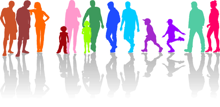 families together: illustration of group of color silhouettes of parents with children