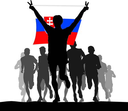 enemies: Illustration silhouettes of athletes, runners at the finish, winner holding Slovakia flag overhead