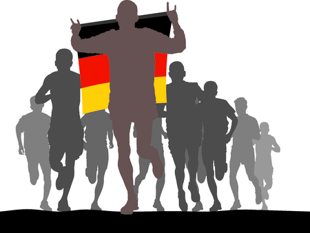 enemies: Illustration silhouettes of athletes, runners at the finish, winner holding Germany flag overhead Illustration