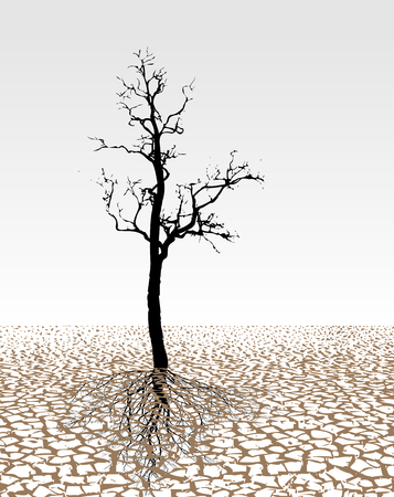 Surrealist illustration extremely cracked dried ground