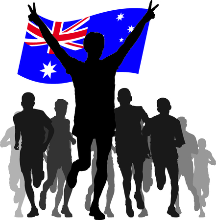 rivalry: silhouettes of athletes, runners at the finish, winner holding Australia flag overhead