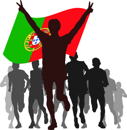 간접비: Illustration silhouettes of athletes, runners at the finish, winner holding Portugal flag overhead