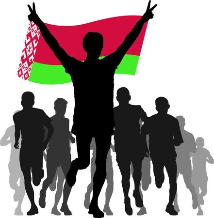 belarus: silhouettes of athletes, runners at the finish, winner holding Belarus flag overhead Illustration