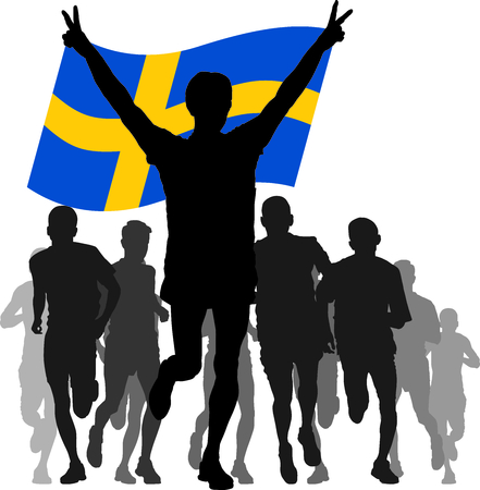 enemies: silhouettes of athletes, runners at the finish, winner holding Sweden flag overhead Illustration