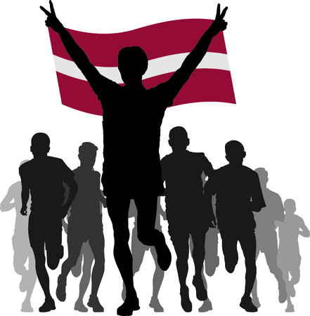 rivalry: silhouettes of athletes, runners at the finish, winner holding Latvia flag overhead