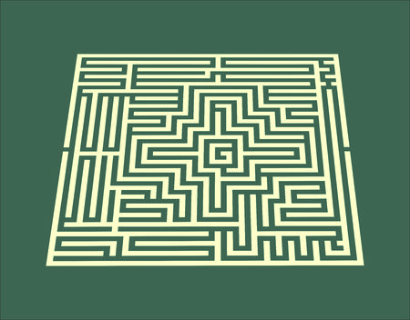 yelow: vector illustration yellow of a maze on dark background