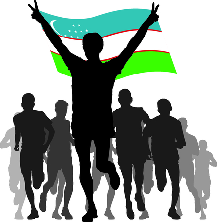 간접비: silhouettes of athletes, runners at the finish, winner holding Uzbekistan flag overhead