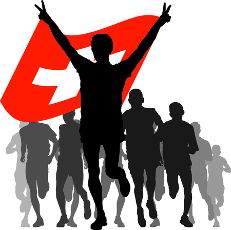 enemies: Illustration silhouettes of athletes, runners at the finish, winner holding Switzerland flag overhead