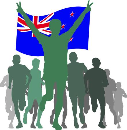 new zealand flag: sagome di atleti, corridori al traguardo, vincitrice tenendo Nuova Zelanda bandiera in testa