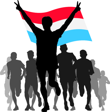 enemies: Illustration silhouettes of athletes, runners at the finish, winner holding Luxembourg flag overhead