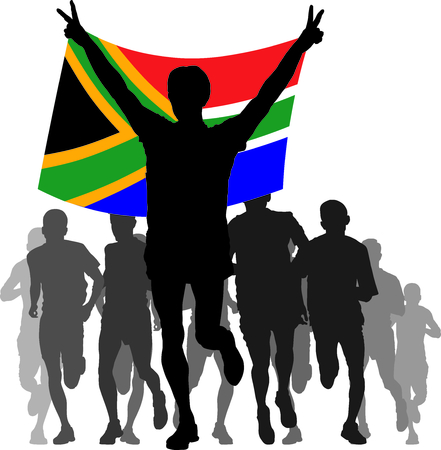 enemies: Illustration silhouettes of athletes, runners at the finish, winner holding South Africa flag overhead Illustration