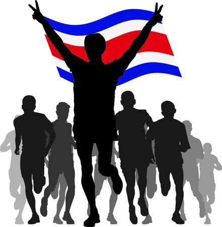 bandera de costa rica: siluetas de los atletas, corredores en la meta, ganador levantando la bandera de Costa Rica sobrecarga Vectores