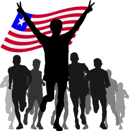 rivalry: silhouettes of athletes, runners at the finish, winner holding Liberia flag overhead Illustration