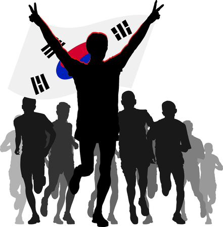 enemies: silhouettes of athletes, runners at the finish, winner holding South Korea flag overhead