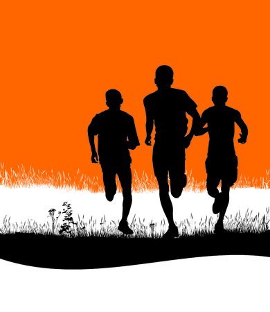 rivalry: Black and white llustration three runners in the countryside on an orange background Illustration