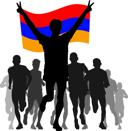 enemies: silhouettes of athletes, runners at the finish, winner holding Armenia flag overhead Illustration