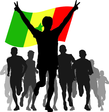 enemies: silhouettes of athletes, runners at the finish, winner holding Senegal flag overhead