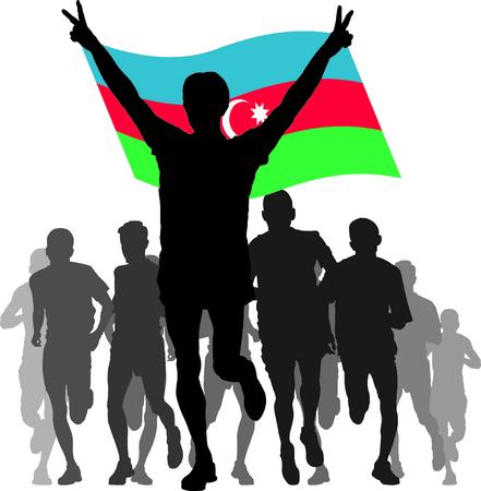 azerbaijan: Illustration silhouettes of athletes, runners at the finish, winner holding  Azerbaijan flag overhead