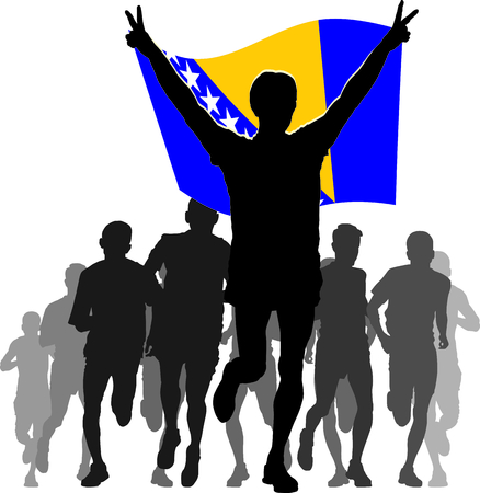 rivalry: Illustration silhouettes of athletes, runners at the finish, winner holding Bosnia and Herzegovina flag overhead