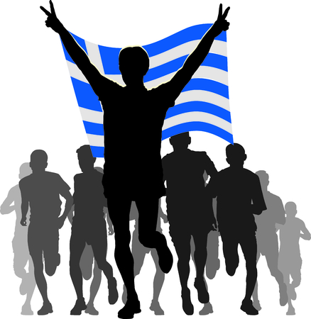 rival: Illustration silhouettes of athletes, runners at the finish, winner holding  Greece flag overhead