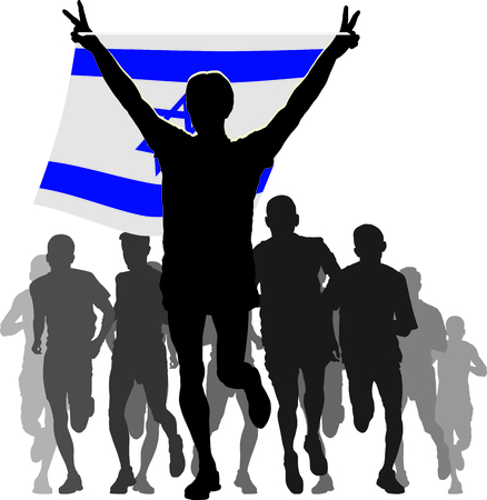 enemies: Illustration silhouettes of athletes, runners at the finish, winner holding Israel flag overhead