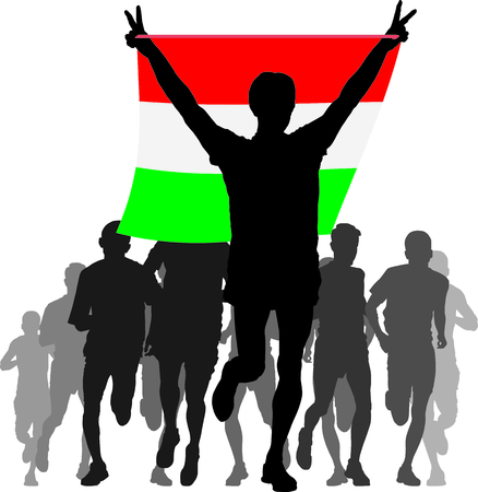 enemies: Illustration silhouettes of athletes, runners at the finish, winner holding Hungary flag overhead