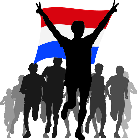 rivalry: Illustration silhouettes of athletes, runners at the finish, winner holding Netherlands flag overhead
