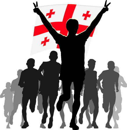 enemies: Illustration silhouettes of athletes, runners at the finish, winner holding Georgia flag overhead