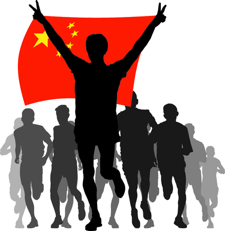 rivalry: athlete, runner, man,  silhouette, race, rivalry, sport, health, people, winner, flag, illustration, China, vector