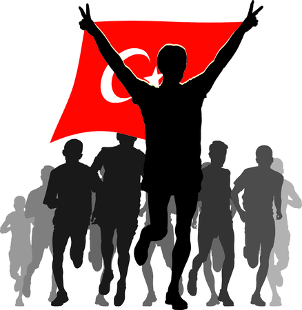 rivalry: Illustration silhouettes of athletes, runners at the finish, winner holding Turkey flag overhead Illustration