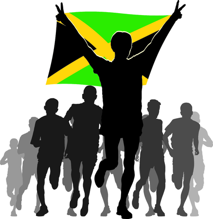 간접비: Illustration silhouettes of athletes, runners at the finish, winner holding Jamaica flag overhead 일러스트