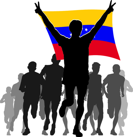 rivalry: Illustration silhouettes of athletes, runners at the finish, winner holding Venezuela flag overhead
