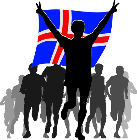 rivalry: Illustration silhouettes of athletes, runners at the finish, winner holding Iceland flag overhead