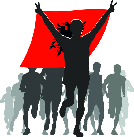 rivalry: Illustration silhouettes of athletes, runners at the finish, winner holding Albania flag overhead