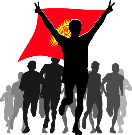 rivalry: Illustration silhouettes of athletes, runners at the finish, winner holding Kyrgyzstan flag overhead Illustration