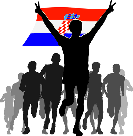 enemies: Illustration silhouettes of athletes, runners at the finish, winner holding Croatia flag overhead