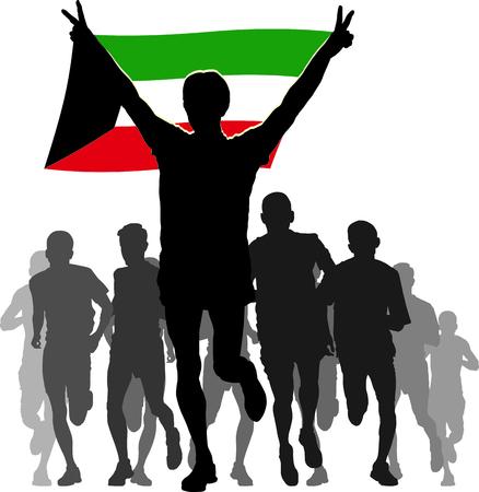 bandera carrera: Ilustración Siluetas de los atletas, corredores en la meta, ganador levantando la bandera de Kuwait sobrecarga