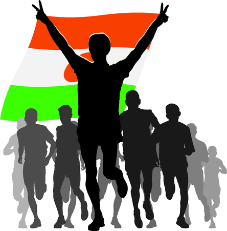 rivalry: Illustration silhouettes of athletes, runners at the finish, winner holding Niger flag overhead Illustration