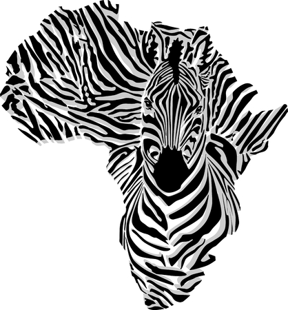 vector illustration of abstract Africa as a zebra skin and head