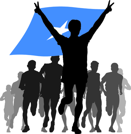 enemies: Illustration silhouettes of athletes, runners at the finish, winner holding Somalia flag overhead