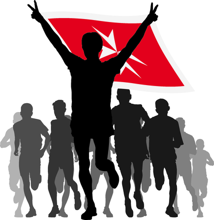 rivalry: Illustration silhouettes of athletes, runners at the finish, winner holding Malta flag overhead