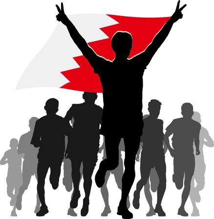 overhead: Illustration silhouettes of athletes, runners at the finish, winner holding Bahrain flag overhead