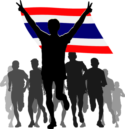enemies: Illustration silhouettes of athletes, runners at the finish, winner holding Thailand flag overhead