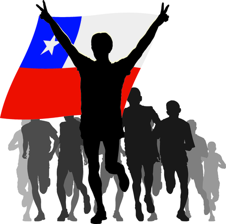 chile flag: Athlete with the Chile flag at the finish Illustration